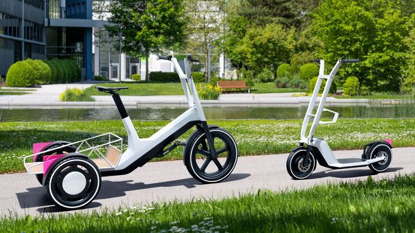 The concept Dynamic Cargo bicycle and concept Clever Commute e-scooter. (BMW)