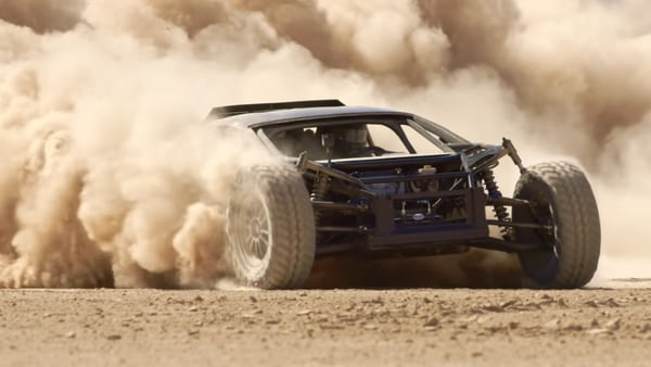 The modified Lambo gets a new roll-cage, large off-road-spec tyres. (Image: Youtube/The Mint 400)