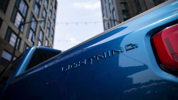 A Ford Motor Co. F-150 Lightning electric vehicle during a presentation in Washington. (Bloomberg)