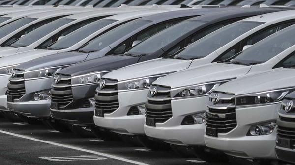 Toyota Innova Crysta MPVs sit in parking area at the production line at the Toyota Kirloskar Motor plant in Bidadi, Karnataka. (File photo) (Bloomberg)