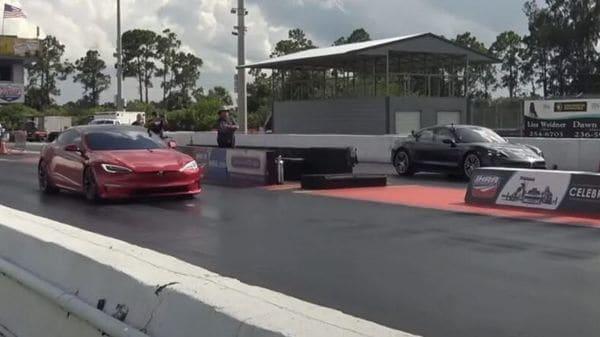 Watch: Tesla Model S Plaid locks horn with Porsche Taycan Turbo S in a drag race