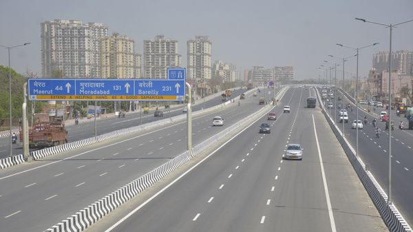 A view of the Delhi-Meerut Expressway (DME) which has been opened to the public, at Dasna in Ghaziabad.