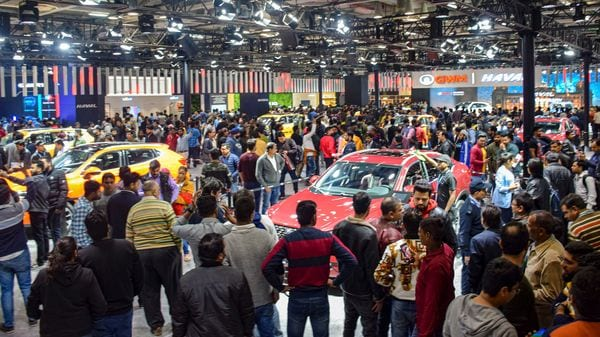 Maintaining social distancing at auto shows can be a herculean task. (File photo for representational purpose) (PTI)