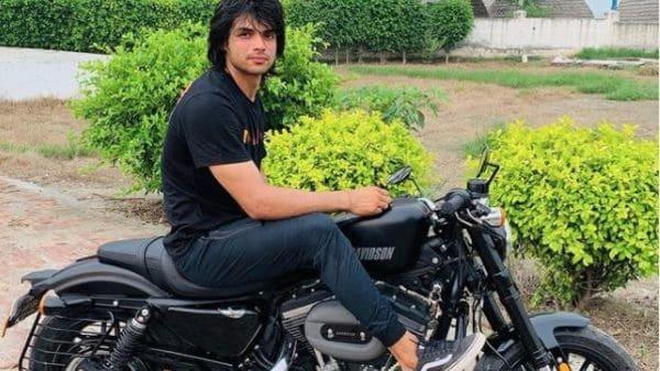 Besides being an ace javelin thrower, Neeraj Chopra is also known as a keen biker. (Image: Instagram/Neeraj Chopra)