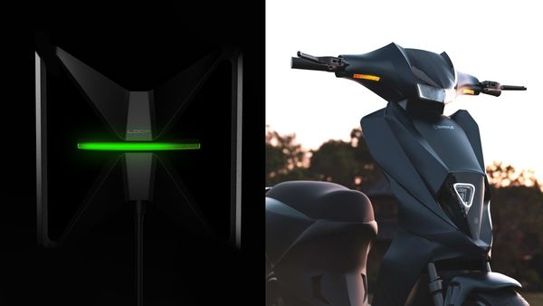 Simple Energy's fast charger - Simple Loop (L) and Simple One electric scooter (R)