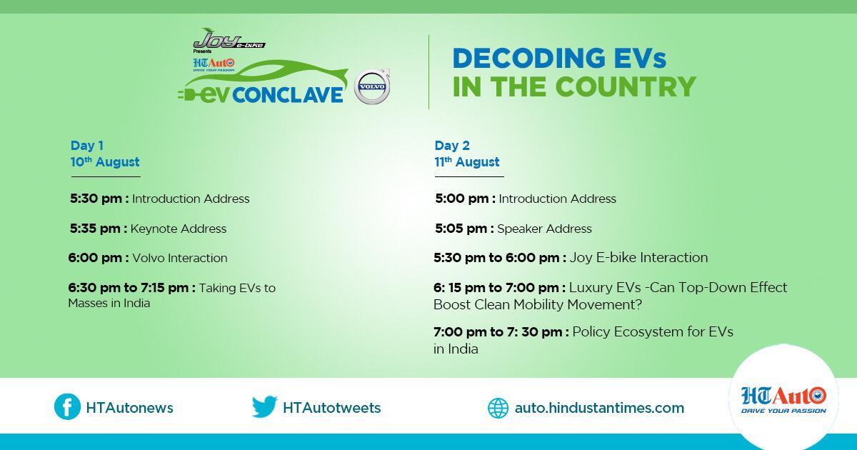 The schedule of HT Auto EV Conclave.