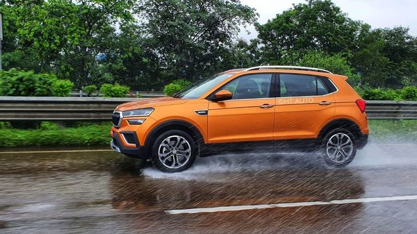 Kushaq from Skoda comes with traction control button for slightly better grip - important especially in rainy conditions. (HT Auto/Sabyasachi Dasgupta)