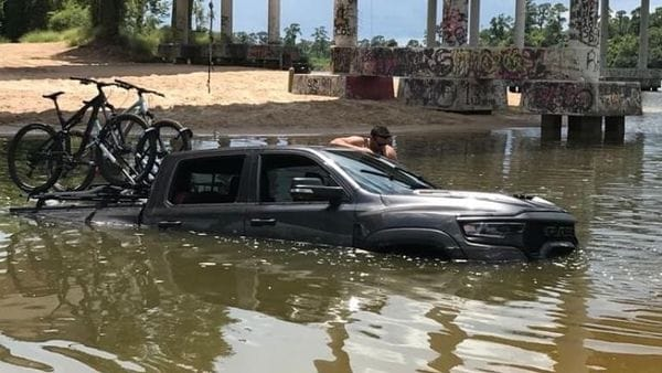 Ram 1500 TRX pickup stuck in water. (Image credit: Xtreme Off-Road Park/Facebook)
