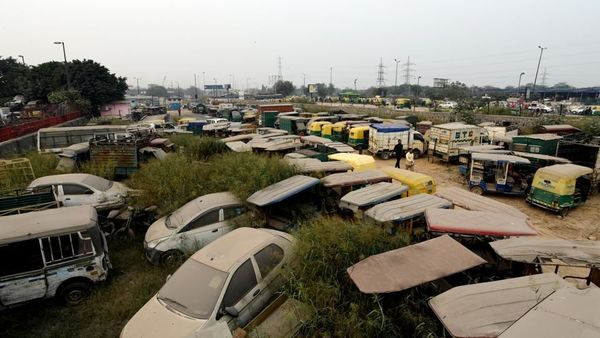File photo of old and discarded vehicles at a scrapyard in Delhi. (Amal KS/HT PHOTO)