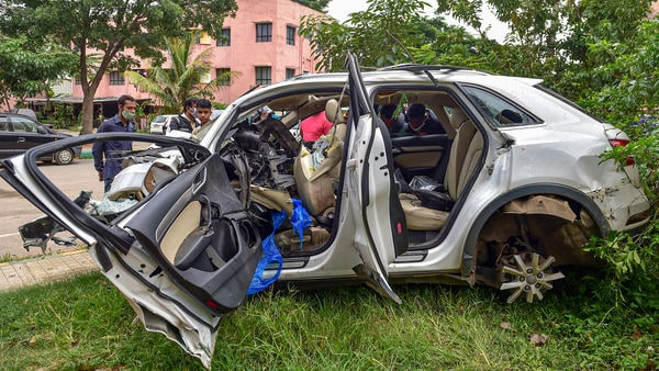 The wreckage of the vehicle which crashed into a pole at Koramangla in Bengaluru. (PTI)