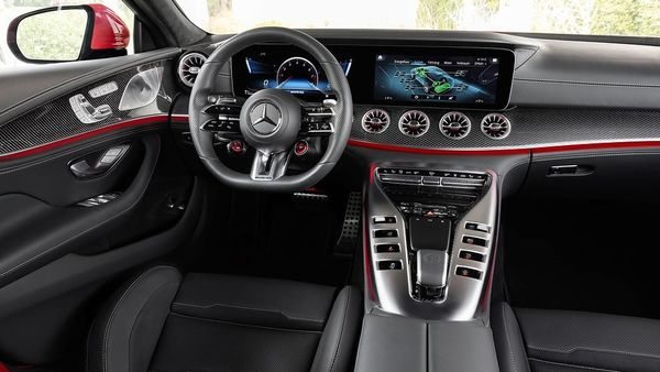 The most obvious difference inside the Mercedes-AMG GT 63 S E Performance's cabin is the new steering wheel.