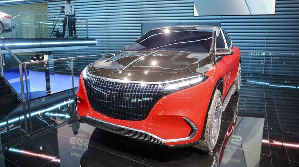 The Mercedes-Maybach EQS luxury electric vehicle (EV) displayed during an unveiling event ahead of the IAA Munich Motor Show in Munich, Germany. (Bloomberg)