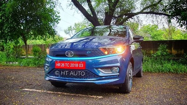 2021 Tigor EV has a smart face but LED head light units could have further added to the appeal of the vehicle. (HT Auto/Sabyasachi Dasgupta)