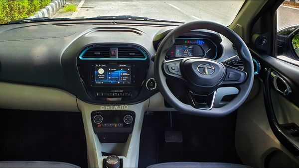 The interior of the EV will boast a seven-inch infotainment screen. The screen will offer a host of NAV and multimedia-related options. It will also put out feed and guideline for the user from the rear cameras. (HT Auto/Sabyasachi Dasgupta)