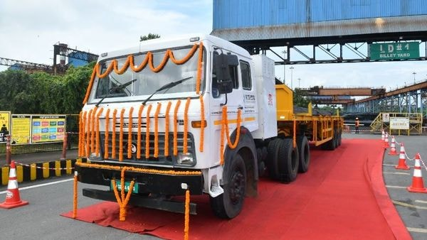 Tata Steel says its is the first time that any steel producer in India has started using EVs to ferry finished steel. (Twitter/@TataSteelLtd)
