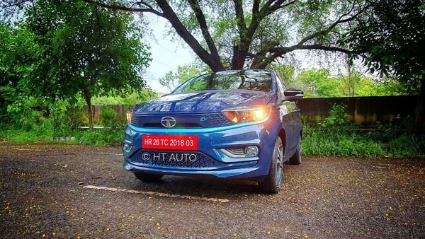 The updated Tigor EV gets Ziptron technology for a better drive performance while also offering a claimed range of over 300 kms and a real-world range that could be around 250 kms per charge. (HT Auto)