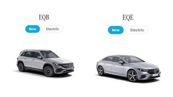 Screenshot from the Mercedes-Benz India site where these new EVs have been listed.