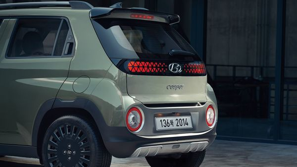At the rear, Hyundai Casper will come with blackened roof spoilers. It will also get LED pattern taillights that run across the entire length of the boot lid. There is also a large chunky bumper at the rear with silver skid plates that complete the look.