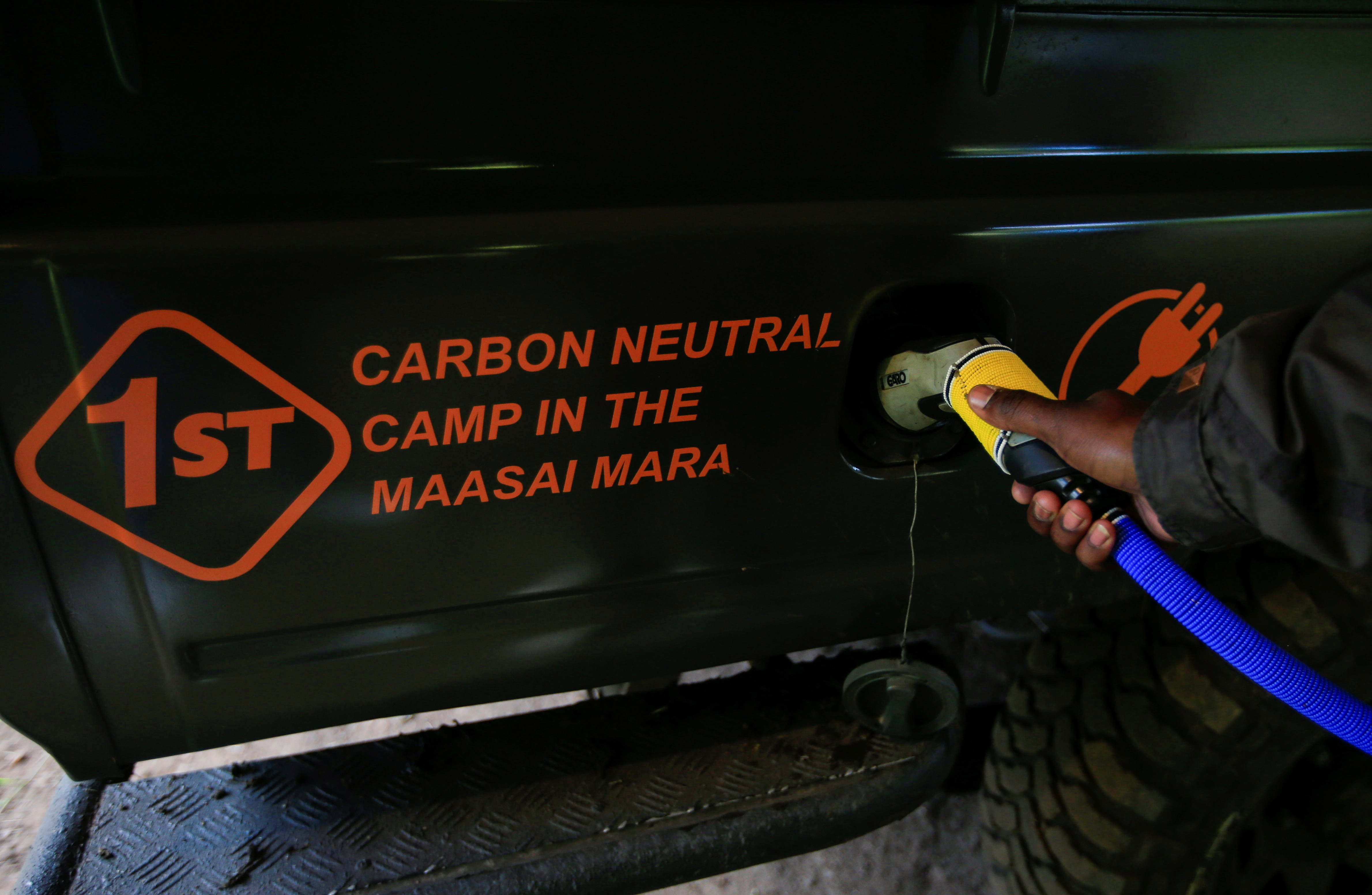 A charging point in Maasai Mara for the electric safari vehicles here.