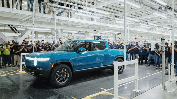 Rivian's R1T electric pickup at its plant in Illinois. (Twitter/RJ Scaringe)