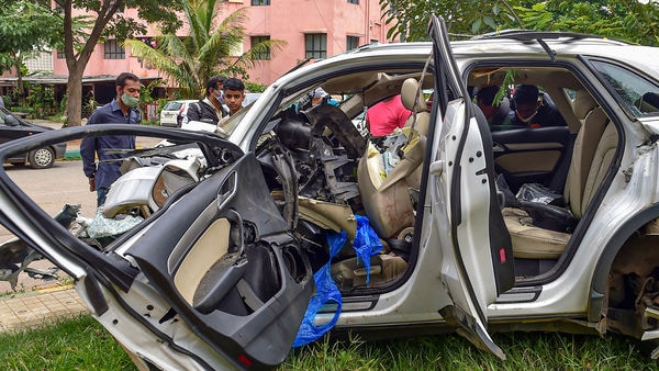 The wreckage of the vehicle which crashed into a pole at Koramangla in Bengaluru in August. (File photo used for representational purpose only) (PTI)
