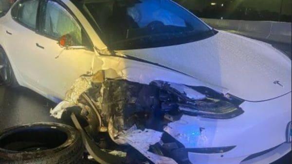 The Tesla Model 3 after crash. (Image: Twitter/FHP Orlando)