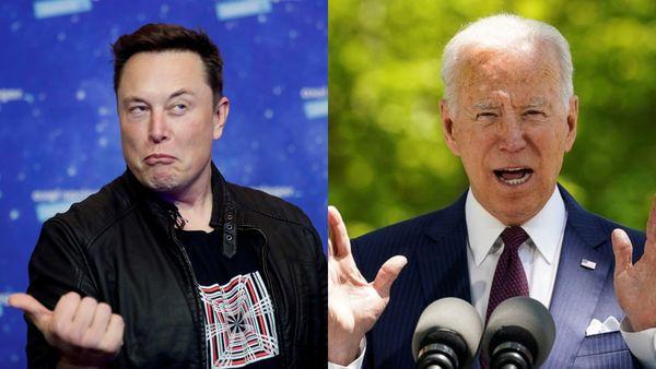 File photo of Tesla CEO Elon Musk (L) and US President Joe Biden (R)