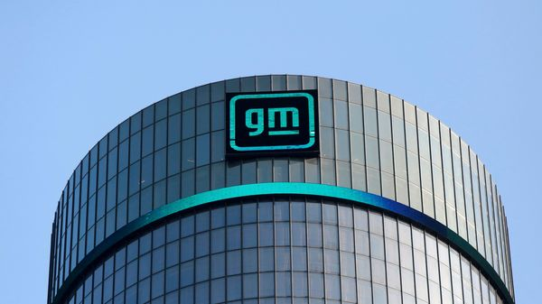 The new GM logo is seen on the facade of the General Motors headquarters in Detroit, Michigan, US. (REUTERS)
