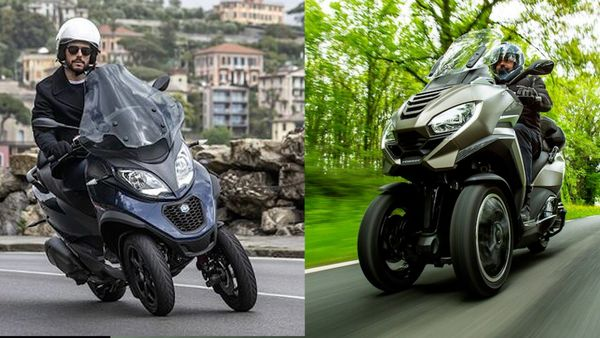 The Piaggio MP3 three-wheel scooter (left) and the Peugeot Metropolis three-wheel scooter (right) have been at the centre of a long-drawn legal battle between the two.