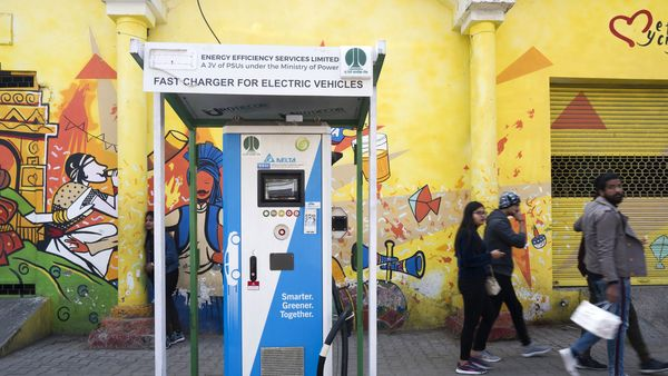 Photo of a Delta EV charging station stands in New Delhi. (Bloomberg)