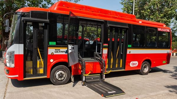 An electric bus delivered to BEST by Tata Motors.
