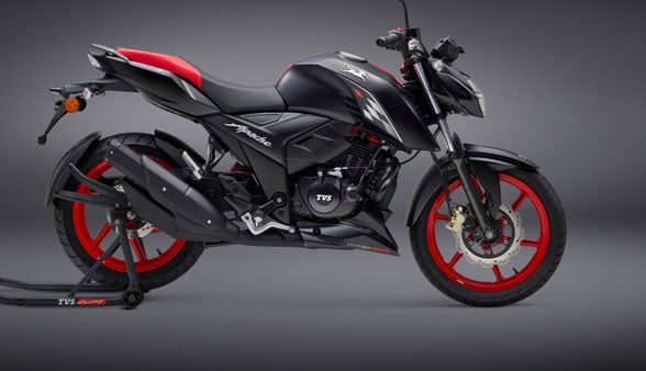 TVS Apache RTR 160 special edition motorcycle gets sporty colour and body decals.