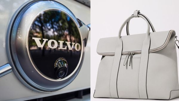 File photo of Volvo logo (L) and the weekend bag (R) created using the carmaker's sustainable interior materials.