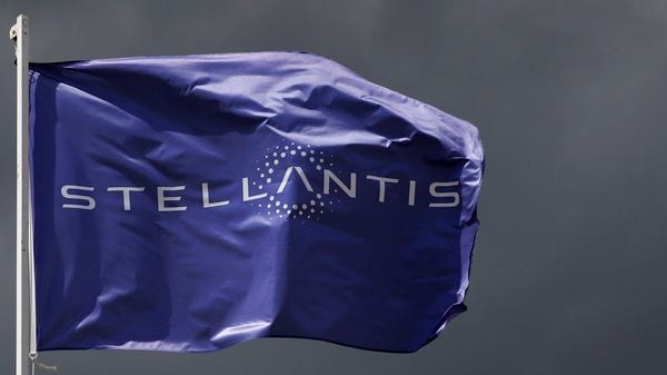 A flag with the logo of Stellantis. (File photo) (Reuters)