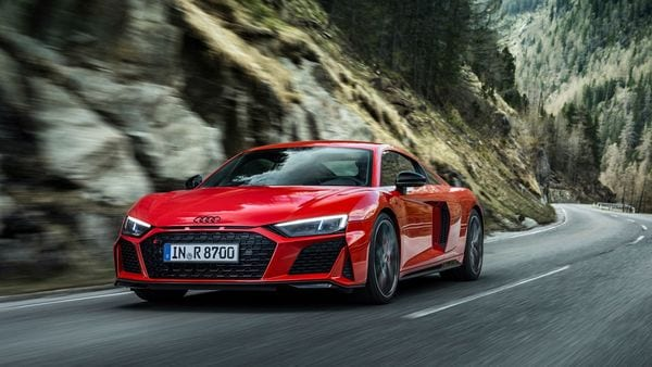 The new Audi R8 V10 performance rear-wheel drive sports car is available as a Coupe or Spyder variant.