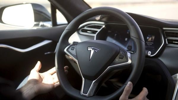 File photo of the interior of a Tesla electric vehicle (REUTERS)