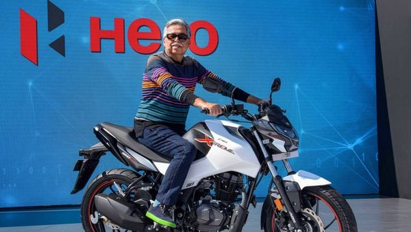 File photo of Pawan Munjal, Chairman and Managing Director of Hero MotoCorp, unveiling the all-new Hero Xtreme 160R bike during Hero World 2020, in Jaipur. (PTI)