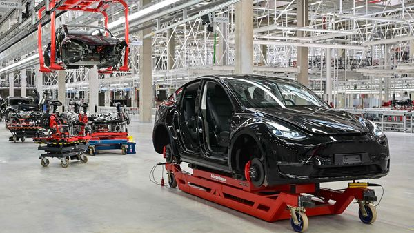 File photo of the production of the Tesla Model Y at the Tesla Gigafactory in Gruenheide, near Berlin. (AFP)
