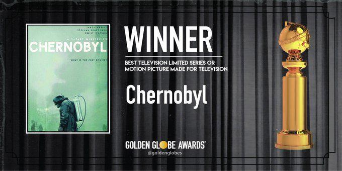 সেরা টিভি সিরিজ বা টিভির জন্য তৈরি মোশন পিকচার : চেরনোবিল (ছবি সৌজন্য টুইটার @goldenglobes)