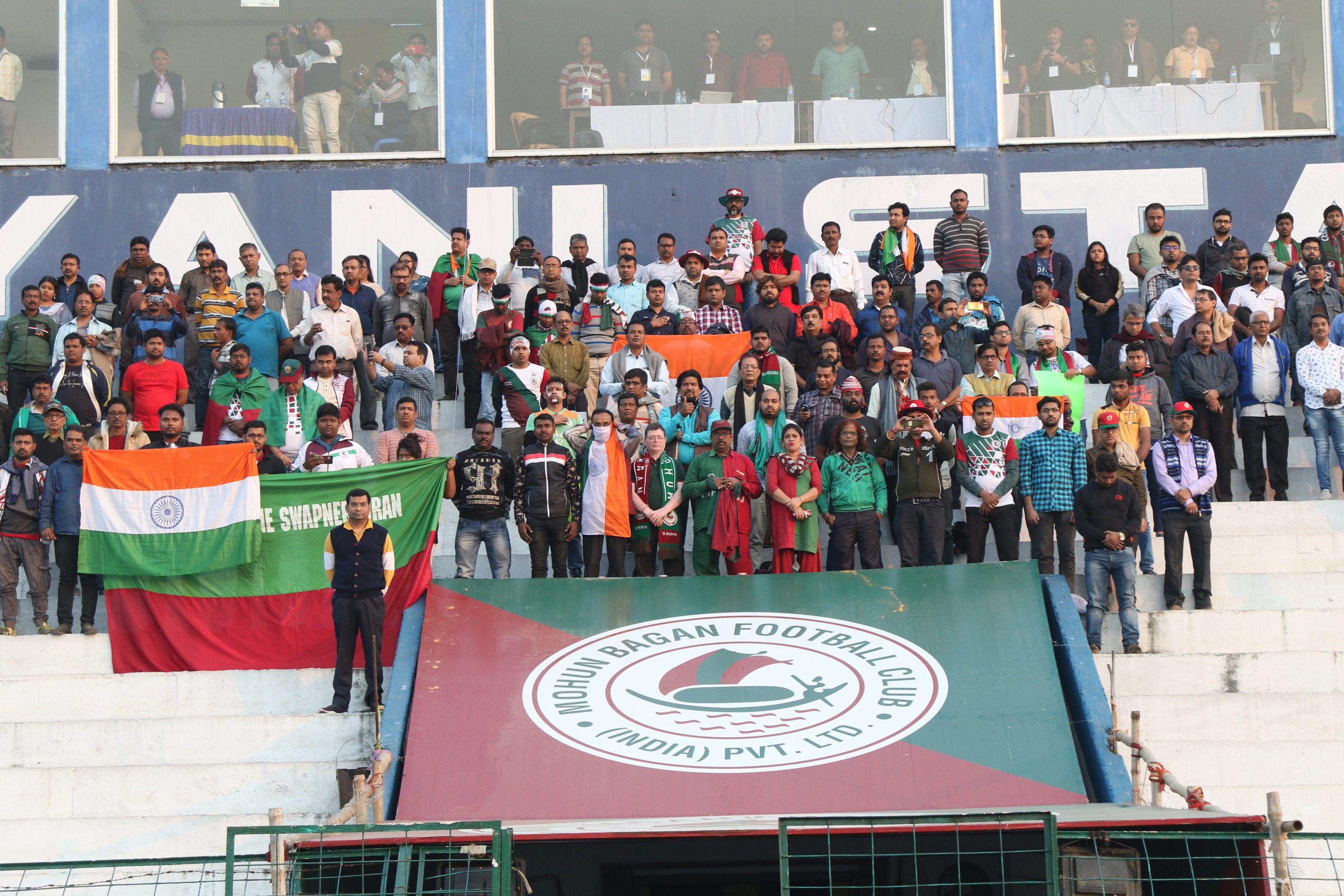 ছিল দেশভক্তিমূলক টিফো। শ্রদ্ধা জানানো হয় শহিদ জওয়ানদের। (ছবি সৌজন্য টুইটার @IndianFootball)