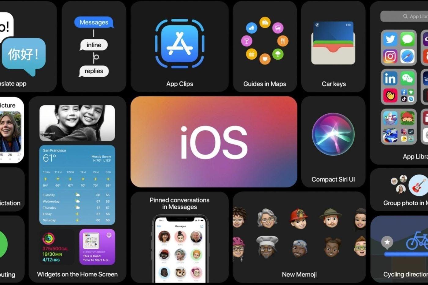 আইএসও ১৪ (iOS 14)-তে সিরি নয়া সুবিধা মিলবে (Redesigned SIRI)। হোম স্ক্রিনে iOS tiles আরও বড় করা যাবে। মেমোজিজ (Memojis) এবং মেসেজে আপডেট এসেছে। মেমোজিজে ২০ টি নয়া স্টাইল যোগ করা হয়েছে। (ছবি সৌজন্য টুইটার)