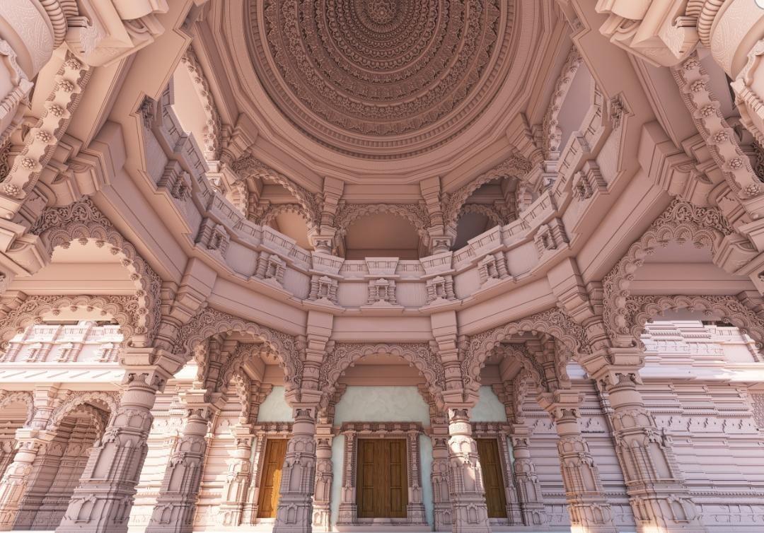মন্দিরের অন্দর মহলেরও দুটি ছবি প্রকাশ করা হয়েছে। (ছবি সৌজন্য, টুইটার @ShriRamTeerth)