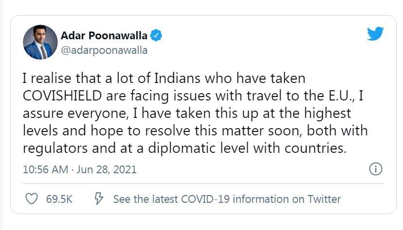 সোমবার সেরাম ইনস্টিটিউটের কর্তা আদার পুনাওয়ালা জানান, এ বিষয়ে জোরকদমে কাজ চলছে। দ্রুত এই সমস্যা মিটবে বলে আশাবাদী তিনি। ছবি : টুইটার (Twitter)