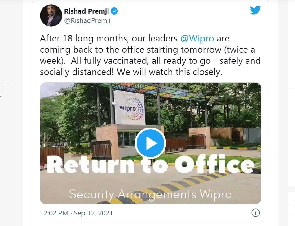 এ বিষয়ে টুইট করেন Wipro-র চেয়ারম্যান রিশদ প্রেমজী। সকল কর্মীরা যে করোনা টিকাপ্রাপ্ত, সেই কথাও জানান তিনি। ছবি : টুইটার (Twitter)