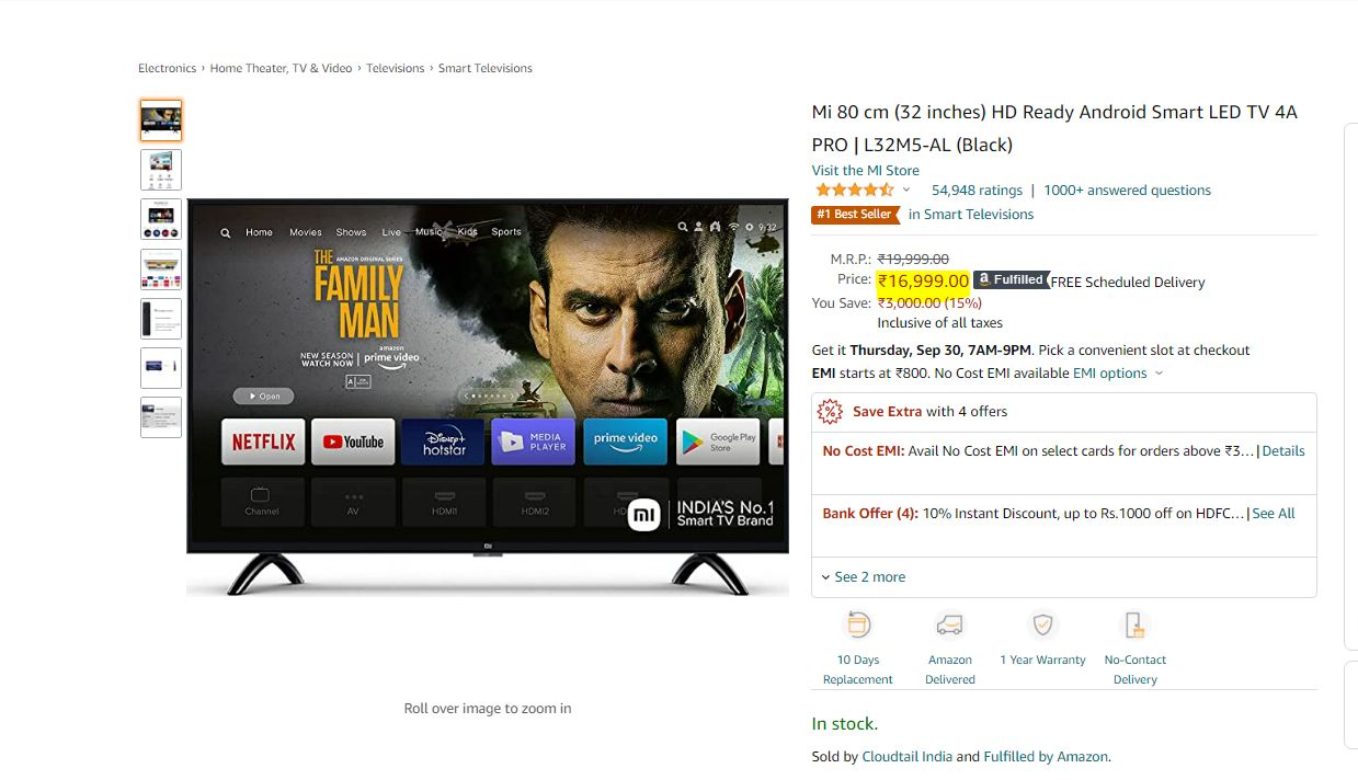 Mi 4A Pro 32-inch Smart LED HD Ready TV (দাম: ১৬,৯৯৯ টাকা): রেজোলিউশন: ১৩৩৬x৭৬৮। রিফ্রেশ রেট : ৬০ Hz । সাধারণ অ্যান্ড্রয়েড টিভি ইন্টারফেস পাবেন। এর সঙ্গে Xiaomi-র প্যাচওয়াল সফটওয়্যার থাকবে। এমনি কেবিল টিভি দেখার পাশাপাশি Disney+ Hotstar, Prime Video ইত্যাদি দেখা যাবে। ২০ Watt Dolby+ DTS-HD স্পিকার। ছবি : আমাজন (Amazon)