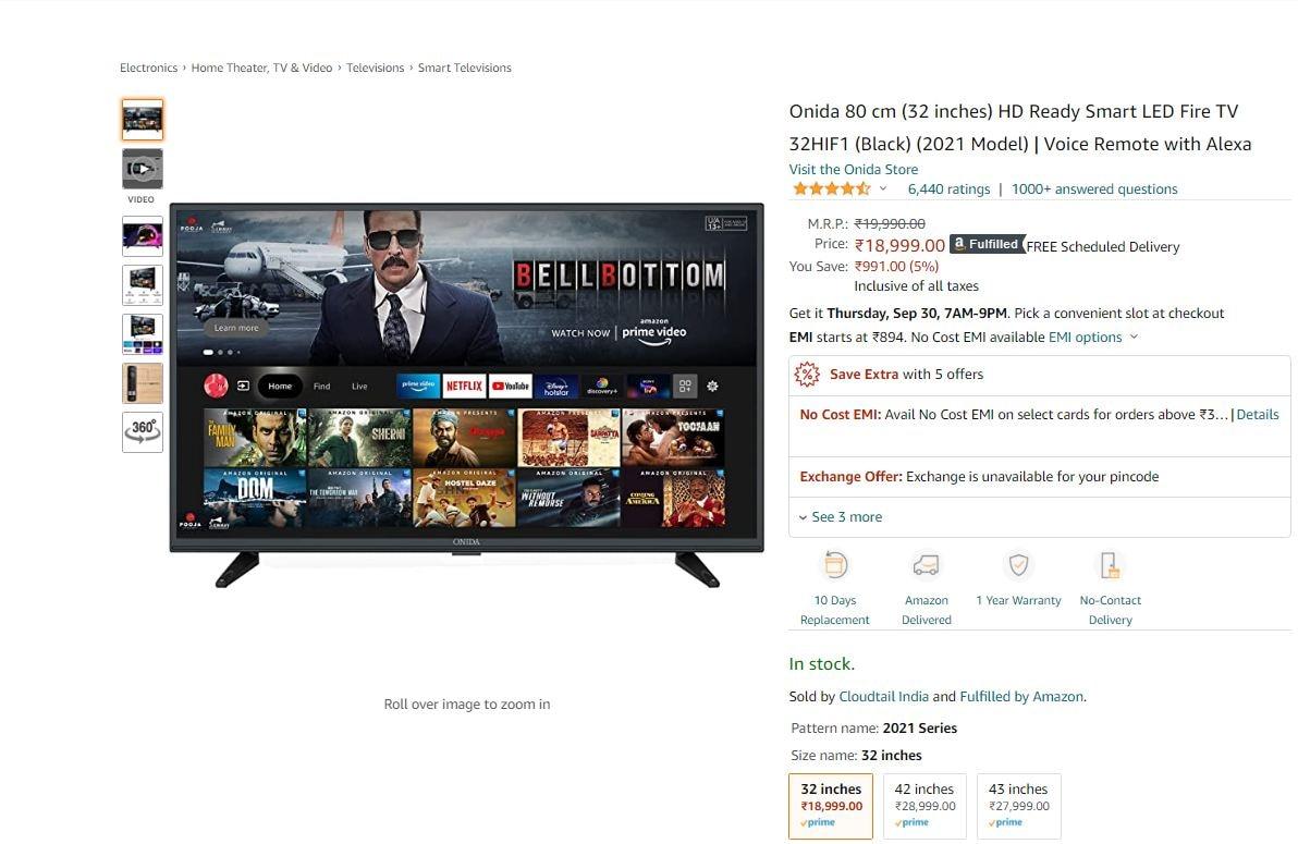 Onida 32 Inch LED HD Ready Fire TV (দাম: ১৮,৯৯৯ টাকা): রেজোলিউশন: ১৩৩৬x৭৬৮ । YouTube, Prime Video, Netflix, Hotstar, Zee5 এবং Sony Liv দেখতে পারবেন। ২০ Watt Dolby+ স্পিকার। ছবি : আমাজন ( Amazon)