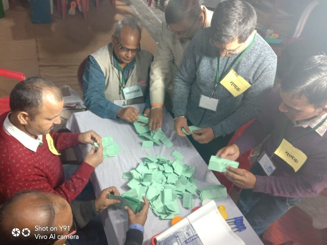 <p>Counting in progress at in Champawat</p>
