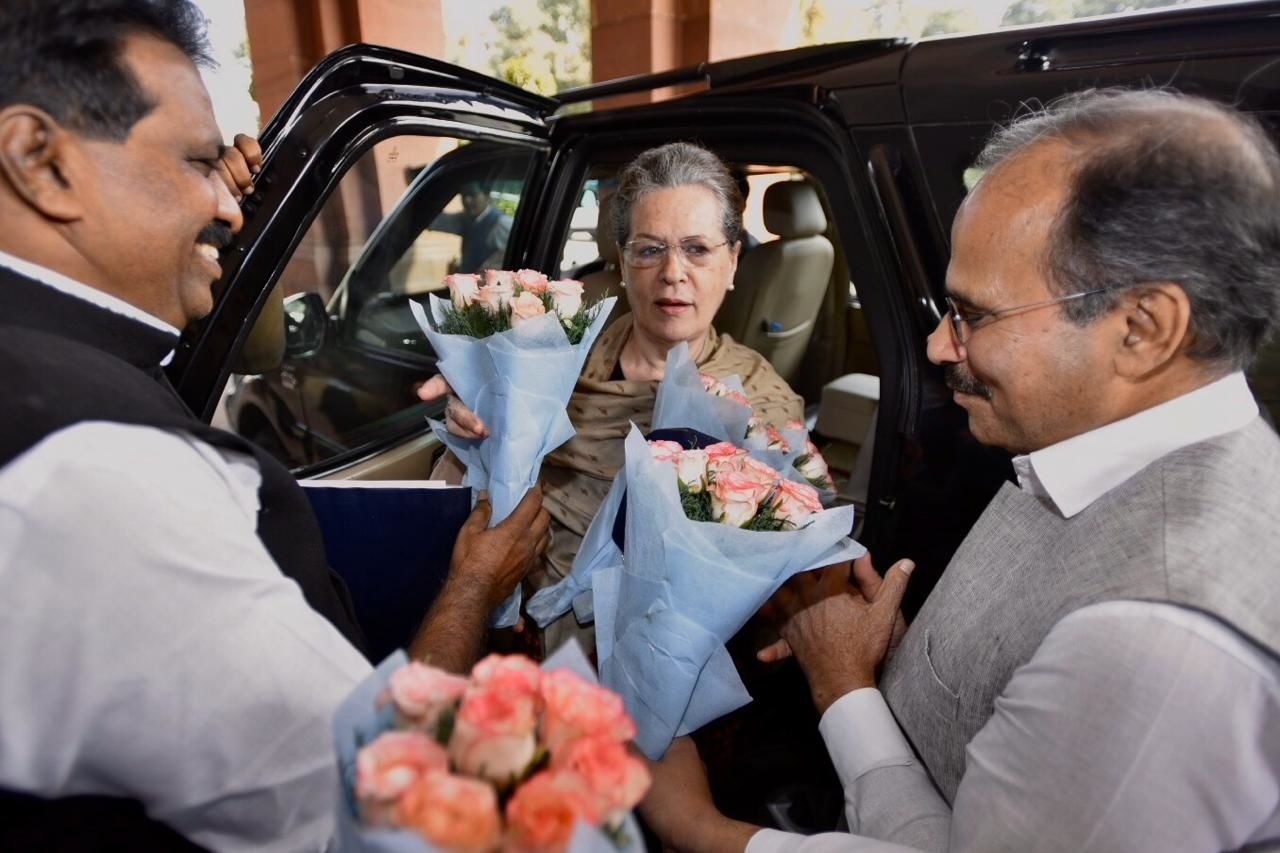 <p>UPA chairperson Sonia Gandhi arrives at Parliament</p>