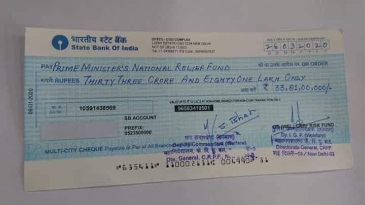 <p>CRPF donates  <span class='webrupee'>₹</span>33.81 crore for PM relief fund</p>