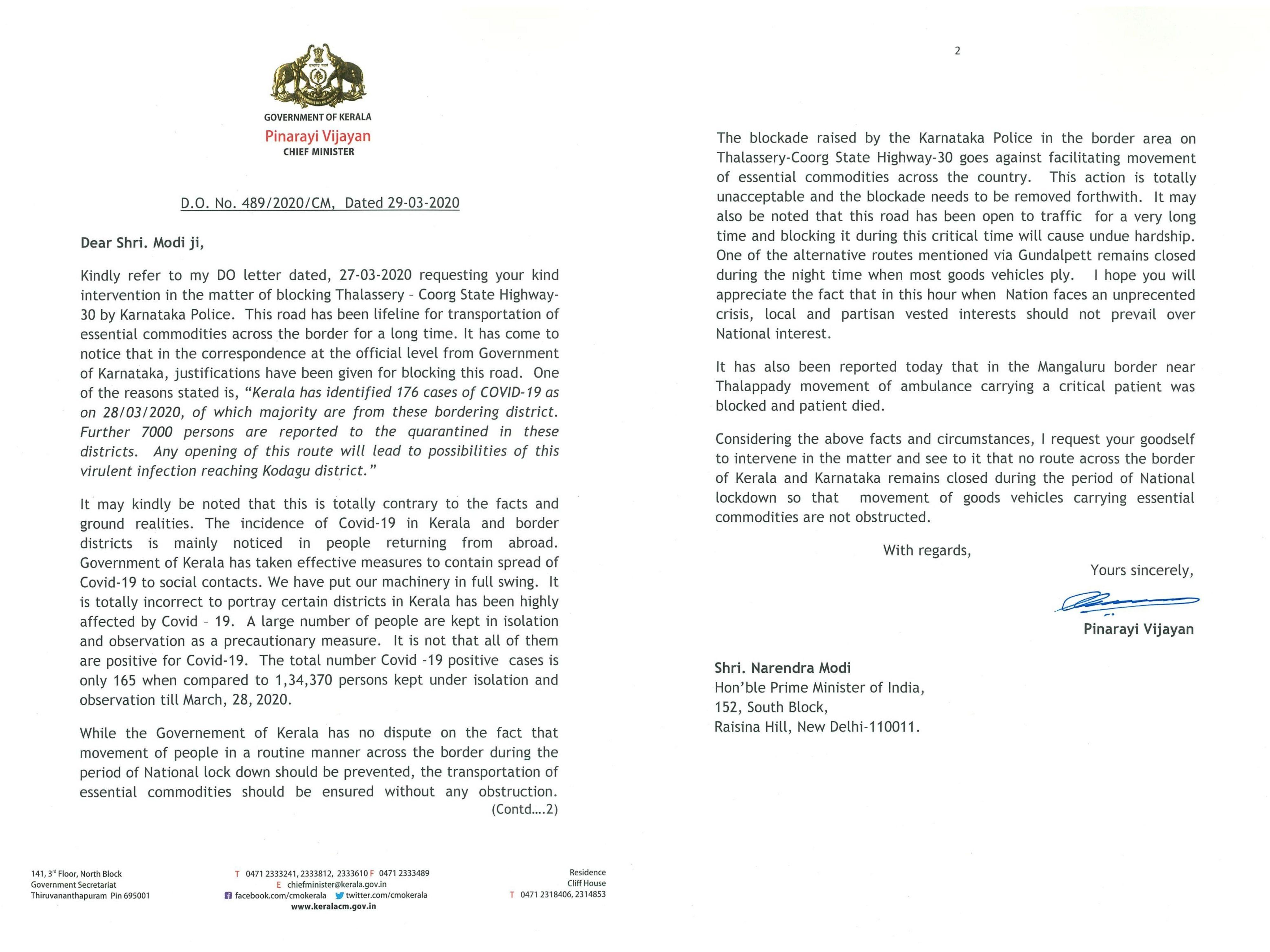 <p>Kerala CM writes to PM Modi seeking intervention over Karnataka's border sealing measures</p>